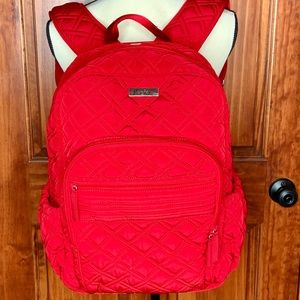 Vera Bradley Red Campus Backpack Quilted Full Size